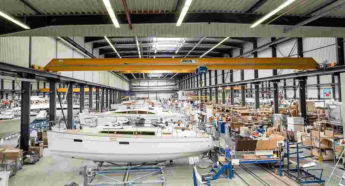 Yachts in the shipyard of BAVARIA YACHTS